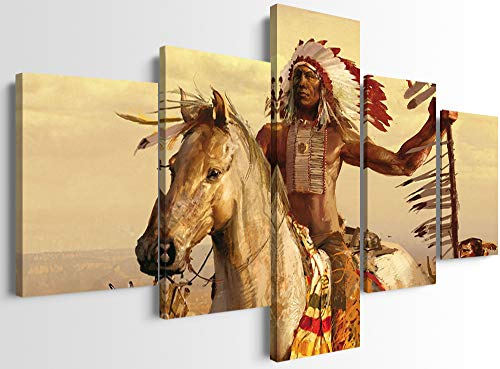 5 Piece Modern Native American Wall Decor Native Indian Man Riding Horse Native American Indian Canvas Wall Art Picture Artwork for Bedroom Office Decor (60''W x 32''H)