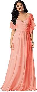 FNKS Women's V Neck Bridesmaid Dresses Long Off Shoulder Ruffles Formal Evening Gowns