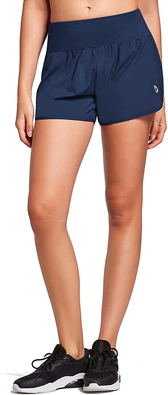 BALEAF Women's 4 Inches High Waisted Athletic Lined Running Shorts Back Zipper Pocket Quick Dry Workout Gym Sportswear