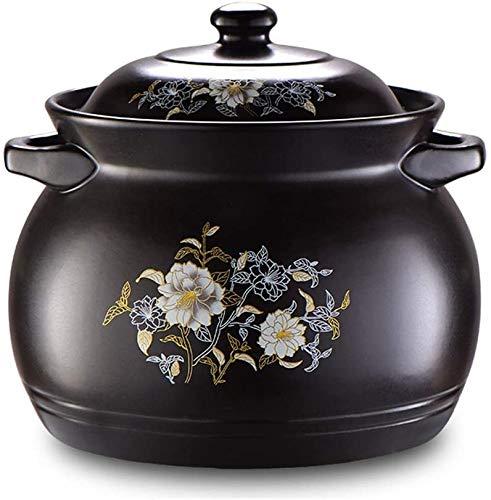 Hengqiyuan Pentola in Ceramica, Vaso di Argilla per Cucinare, Vaso di zuppa, Smalto Liscio è Facile da Pulire e Resistente al Calore per Cottura di Fagioli, Riso, zuppa,Nero,Capacity 3.5L