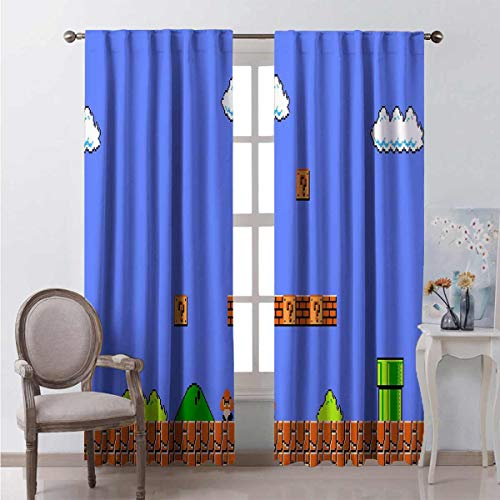 Darlene Harts Blue Baby Window Shade 72 Inch Lenght Super Mario Game 3D World Background Window Curtains 2 Panel for Bedroom 63x72 Inch