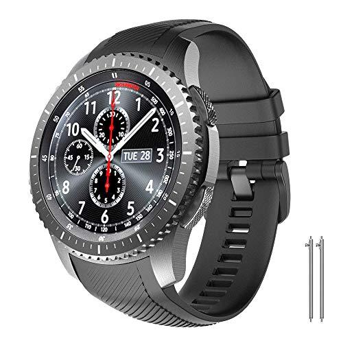 NotoCity Correa Compatible con Samsung Gear S3 Classic/Frontier/Galaxy Watch 46mm, Correa de Reloj de Silicona Suave Compatible con Gear S3 Classic/ S3 Frontier/Galaxy 46mm (Negro)