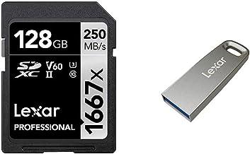 Lexar Professional 1667X 128GB SDXC Uhs-II/U3 Card (LSD128CBNA1667) and Lexar JumpDrive M45 128GB USB 3.1 Flash Drive (LJD...