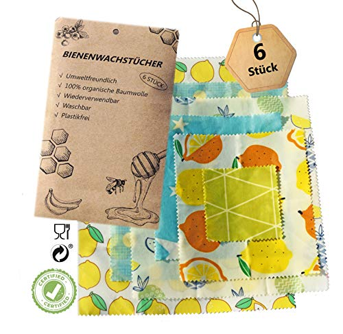 Sunlight Bienenwachs Bees Wax Wrap, Wiederverwendbare Bio Bienenwachstücher für Lebensmittel 6er Set in 4 verschiedenen Größen und Designs, Umweltfreundliche Verpackung Aufbewahrung z.B. für Brot