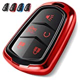 Uxinuo Compatible with Cadillac Key Fob Cover, Premium Soft TPU 360 Degree Full Protection Key Fob Case for 2015-2019 Cadillac Escalade, CTS, SRX, XT5, ATS, STS, and CT6, (Red 5-Buttons)