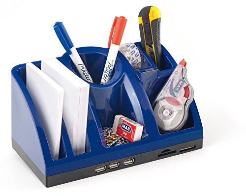 Bureau-organizer opbergsysteem met USB-hub en kaartlezer blauw