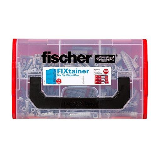 fischer FIXtainer SX-Dübel-Box, Dübelset mit 210 Dübeln (120 Stk. 6 x 30, 60 Stk. 8 x 40, 30 Stk. 10 x 50), Universaldübel, praktische Werkzeugkiste mit Tragegriff & Klicksystem, ohne Schrauben