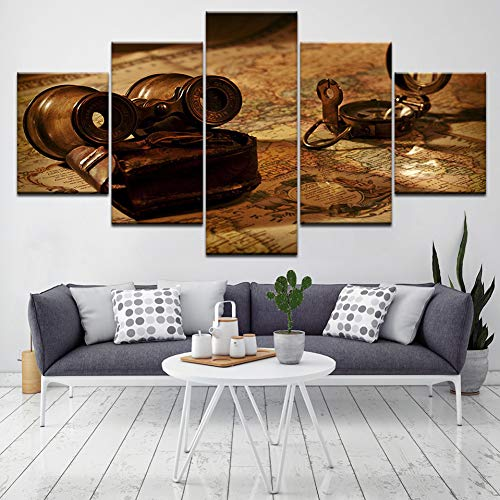 ZXCVWY Wall Art HD Gedrukte Foto's Canvas Oude Telescoop En Kaart Home Decor Moderne Schilderijen