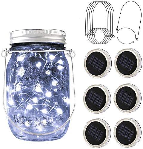 PAPRMA 6 Pack Solar Mason Jar Lid Lights 20 LED Jar Lid Fairy String Lights with 6 Hangers Decorations product image