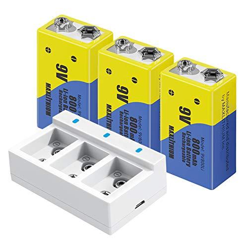 9v Wiederaufladbare Batterien mit Langer Lebensdauer 9v Lithium-Ionen-Batterien Kapazität 800mAh,3 Pack mit Schnellladegerät, Maxlithium