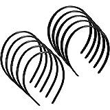 10 Piezas Diademas Lisas de Plástico Diademas Finas con Peine de Dientes Accesorios de Pelo DIY Aro de Banda de Pelo Negro para Mujeres Niñas y Hombres, 8 mm y 12 mm