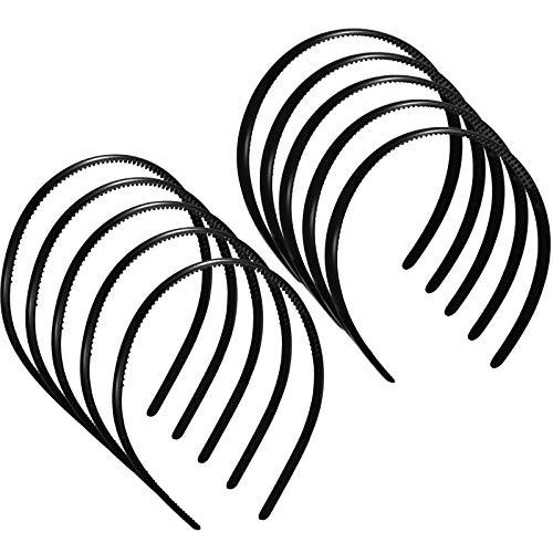 10 Pezzi Cerchietti in Plastica Semplice con Pettine a Denti Accessori per Capelli Fai Da Te Cerchietto per Capelli Neri per Donne, Ragazze e Uomini, 8 mm e 12 mm