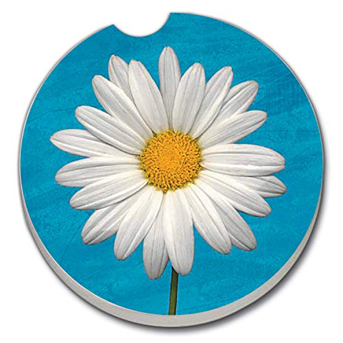 Highland Graphics White Daisy Auto Coaster - absorbant stone Coaster for Your Car cup holder,Blue, White