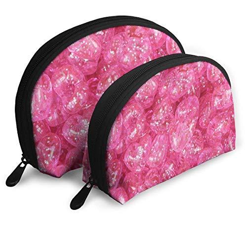 Trousse de Maquillage Organisateur de Toilette Portable Shell Scintillant Rose pour Les Vacances des Femmes 2 Pack