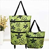 Grocery Cart with Wheels, Shopping Cart, Folding Cart, 2 In 1 Foldable Shopping Cart Collapsible Two-Stage Zipper Folding Shopping Bag With Wheels Foldable Shopping Cart, Portable Carts with Wheels
