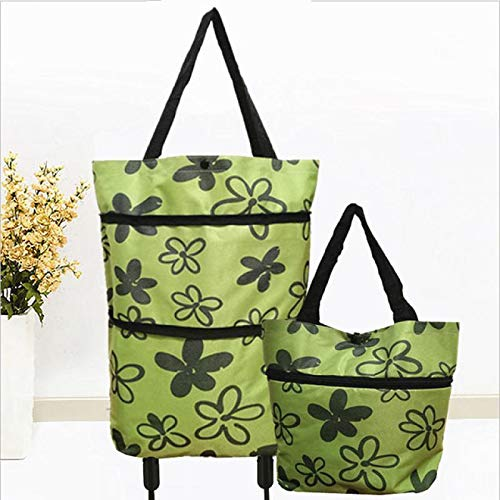 LONEA 2 in 1 Foldable Shopping Cart Collapsible Two-Stage Zipper Shopping Bag Wheels Shopping Cart Big Basket Cart Double Rolling Wheels Loading Utility Shopping Laundry, Shopping, Grocery, Luggage