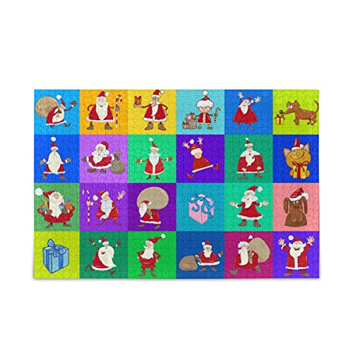 500 Pieces Collage of Santa Claus Jigsaw Puzzle, Educational Intellectual Decompressing Fun Game for Kids Adults