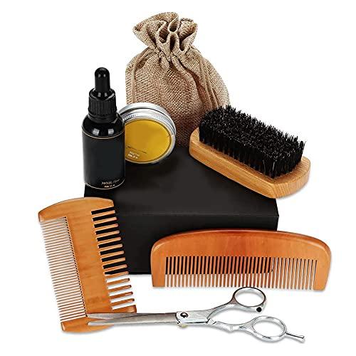 Kit Barba Cuidado Para Hombres 7 en 1, Aceite de barba, Bálsamo de barba, Cepillo de Barba, Peine de Barba, Tijeras de Barba, Kit de Herramienta de Peinado para Barba para Principiantes