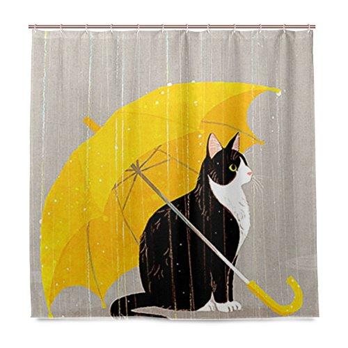 ISAOA Cortina de ducha de gato negro con paraguas amarillo, impermeable, resistente al moho, antibacteriano, diseño personalizado, cortina de tela de poliéster para baño, 180 x 180 cm con 12 ganchos