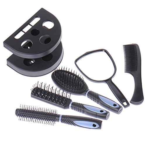 6 pcs/lot Plastique Coiffure Peignes brosses kit avec miroir et support