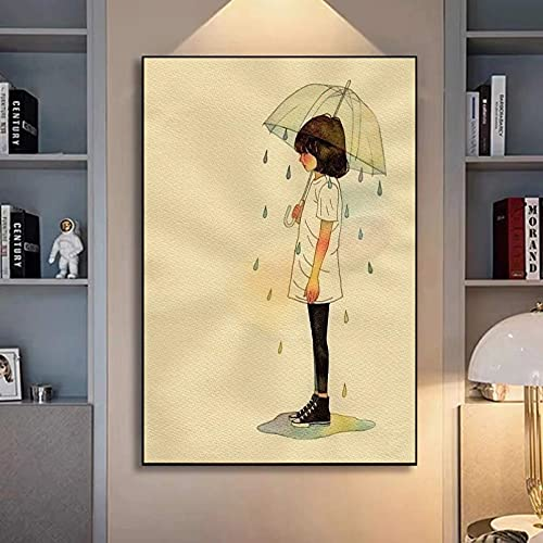 Leinwandbild Canvas Painting 3D Decoration Abstract Art Little Girl Holding Umbrella Canvas Painting Picture Posters Print Wall Art for Living Room Home Decor Home Decoration Gift40x60cm