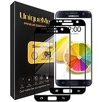 UniqueMe [2 Pack] Protector de Pantalla para Samsung Galaxy S7 Black, 9H Dureza Vidrio Templado [Garantía de por Vida]- Negro