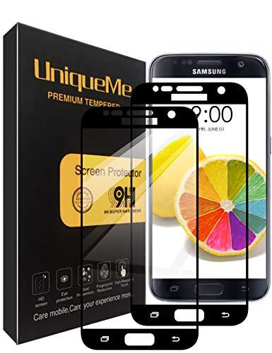 UniqueMe [2 Pezzi Pellicola Protettiva Compatibile con Samsung Galaxy S7, [Copertura Completa] Liteteggi Schermo in Vetro temperato con Sostituzione a Vita - Nero