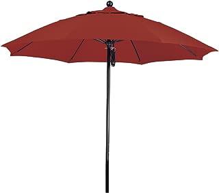 California Umbrella 9' Round 100% Fiberglass Frame Market Umbrella, Push Lift, Black Pole, Sunbrella Terracotta