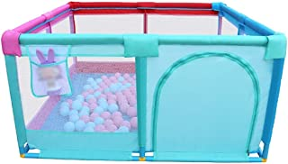Children playpen Baby Bed Rail Playpen Large  Foldable Portable Fence Fabric Room Divider Child Barrier with Door Zip  Kids Safety Play Yard  Size 128 128 66cm