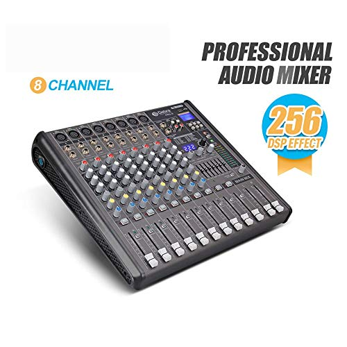 Best Buy! Jeterndy Audio Mixer Professional 8-Channel Power Mixer Bluetooth USB DJ Console Mixer 256...