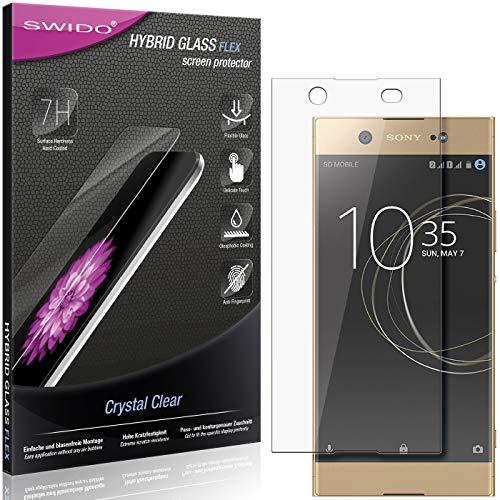 SWIDO Panzerglas Schutzfolie kompatibel mit Sony Xperia XA1 Ultra Dual Bildschirmschutz-Folie & Glas = biegsames HYBRIDGLAS, splitterfrei, Anti-Fingerprint KLAR - HD-Clear