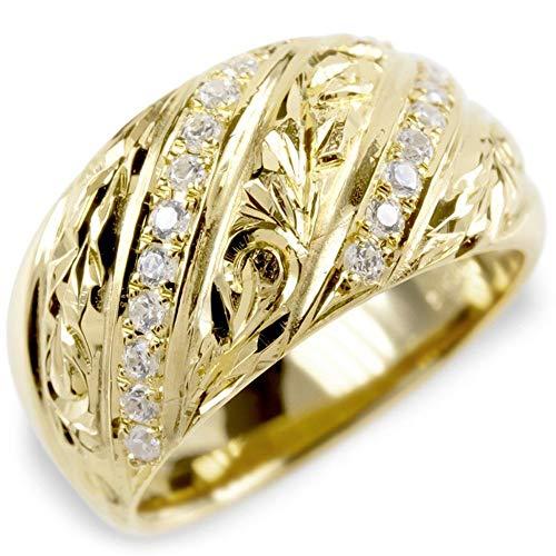 [アトラス]Atrus リング メンズ 18金 イエローゴールドk18 キュービックジルコニア ハワイアンジュエリー 指輪 マイレ スクロール 幅広 29号