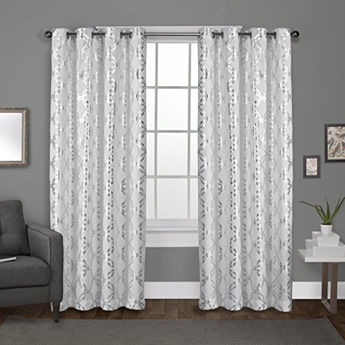 Exclusive Home Curtains Modo Metallic Geometric Window Curtain Panel Pair with Grommet Top, 54x96, Winter White, 2 Count
