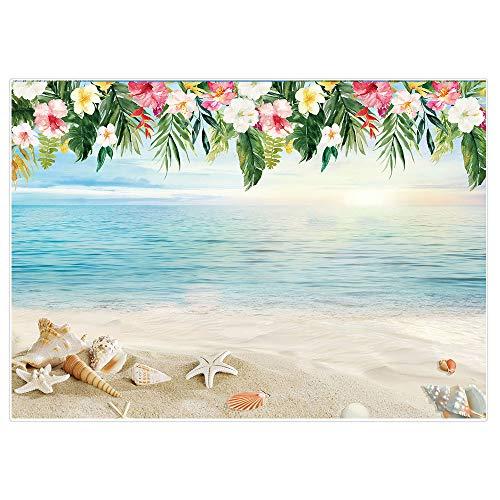 Allenjoy Fondo de fotografía tropical de playa de 2,1 x 1,5 m, para verano, cumpleaños, luau, fiesta de bebé, fiesta de flores, para estudio de fotografía