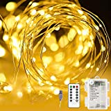 Areskey LEDイルミネーションライト ジュエリーライト 10M100球 フェアリーライト 電池式、USB式 二重電源供給 防水ワイヤーライト 8種類の点滅モード リモコン付き タイマー設定 調節可能な明るさ 屋外 室内 寝室の装飾用 ガーデンライト 正月 クリスマス 飾り ストリングライト ロープライト (ウォームホワイト)