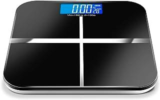 Báscula digital con pantalla LCD,Báscula de Baño Digital de Alta Medición Precisa,diseño de esquina redonda,Cinta Métrica Incluida (Color : Black)