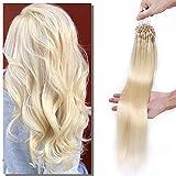Elailite Extensiones Anillas Cabello Natural Micro Ring Pelo Humano sin Clip 100 mechas 50g - 100% Remy Human Hair Largas 60cm #60 Rubio Platino