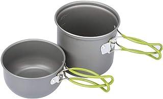 Goolsky Camping Cookware Set Campfire Cooking Utensils Folding Cookset Outdoor Hiking Backpacking Pot Bowls Mesh Carry Bag