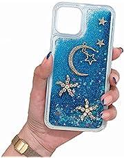 TYWZ Quicksand Cover voor Samsung Galaxy S21 Plus, 3D Handgemaakte Schattige Gepersonaliseerde Meisje Glitter Sparkle Floating Liquid Diamond Case-Blue Moon Star