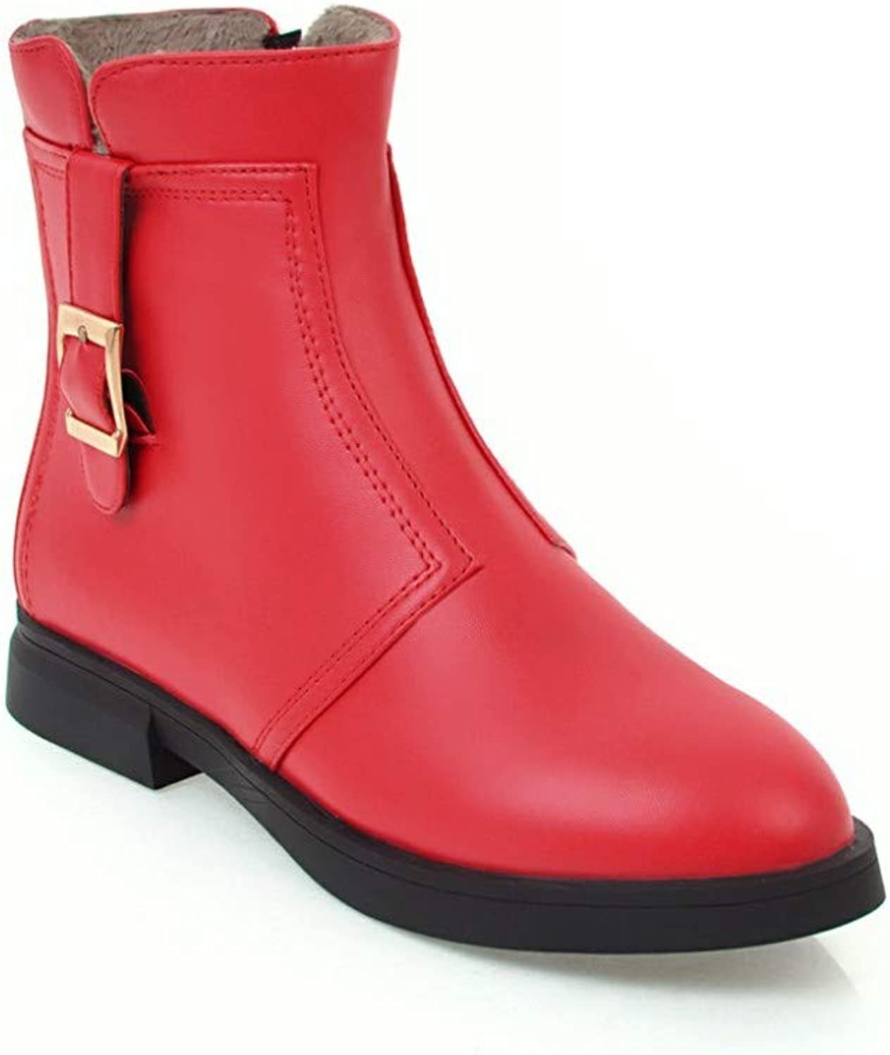 Women College Style Simple Martin Boots 2018 Autumn Low Heel Buckle Ankle Boots Size 31-33,Red,39