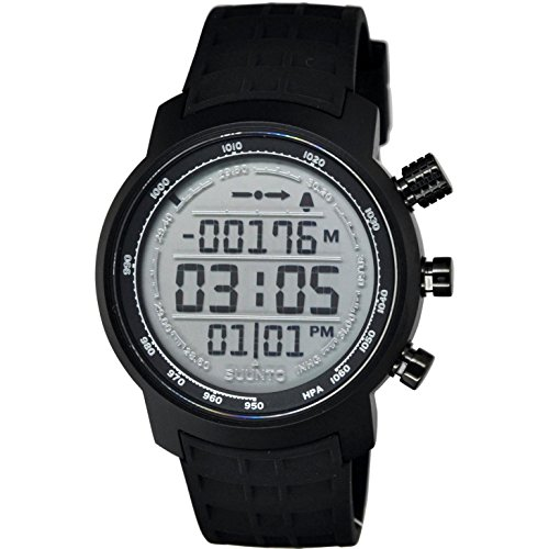 Suunto Elementum Terra Black Rubber/Light Display Digital Display Quartz Watch, Black Silicone Band, Round 51.5mm Case