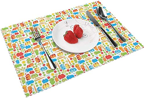 Guinea Pig Vegetable Non-Slip Insulation Placemat Washable Table Mats Set of 4