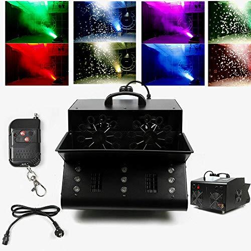 9 LEDs RGB Nebelmaschine Professionelle und Tragbare Rauchmaschine Seifenblasenmaschine 3 in 1 für Halloween, Weihnachtsgeschenke, Hochzeit,Theater, Party und Disco Club Funkfernbedienung