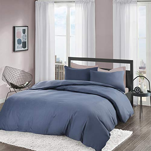Brushed Duvet Cover Set king Size - 2 Pcs Ultra Soft Hypoallergenic Microfiber Quilt Cover Sets - Navy
