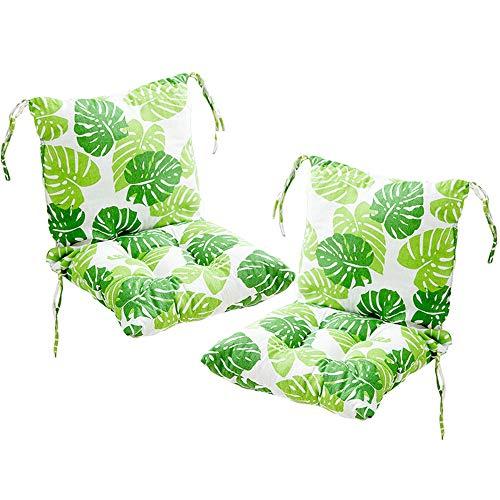 Deike Mild 2 cojines para silla con respaldo de asiento, cojines para respaldo con cintas, respaldo bajo, tapicería para silla de jardín, c, 40 x 40cm