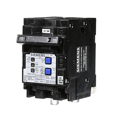 Siemens Q215AFCP 2-Pole 120-Volt combination type arc fault circuit interrupter, Clamshell Packaging