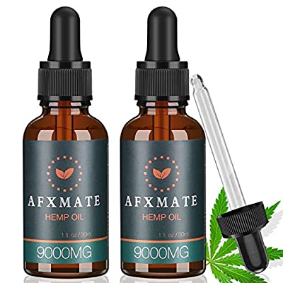 (2-Pack) Hemp Oil for Pain & Anxiety Relief - 9000MG of Organic Hemp Extract - 100% Natural Hemp Drops, Rich in Vitamin & Omega, Helps with Sleep, Skin & Hair, Improve Health from TEPNICAL