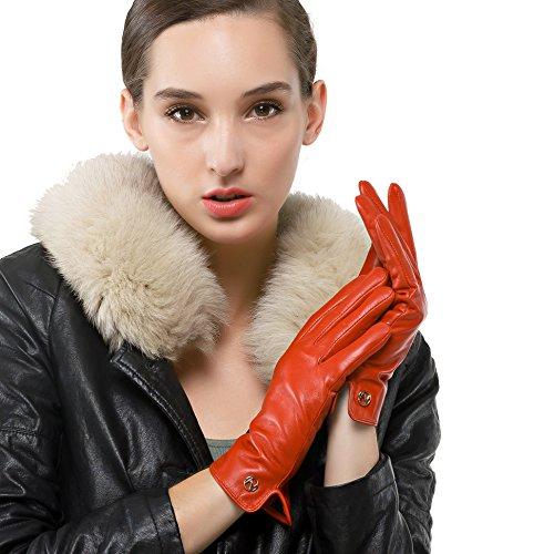 Nappaglo Damen Italienisches Lammfell Leder Handschuhe Touchscreen Winter Warm Langes Fleecefutter Handschuhe (M (Umfang der Handfl?che:17.8-19.0cm), Rot(Non-Touchscreen))