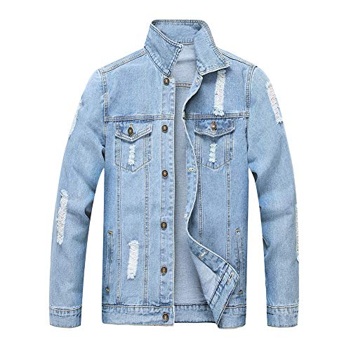 Jean Jacket for Men, LZLER Classic Ripped Slim Denim Jacket with Holes(Blue 1801, L)