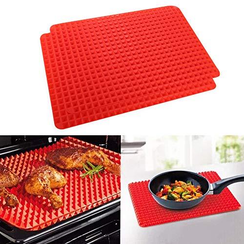 Veraing Silikon Backmatte Lebensmittelecht Noppen Dauerbackfolie Spülmaschinenfest BPA-frei (2 Stück)